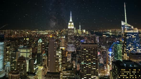 Thumbnail for NYC Skyline Night Time Lapse. A Beautiful Timelapse of Nightfall in the Heart of Manhattan