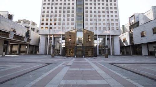 Golden glass facade entrance to the modern building