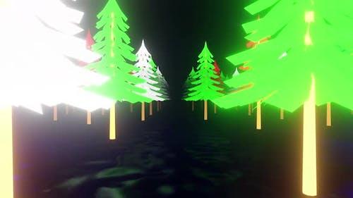Winter Tree Neon 02 4k