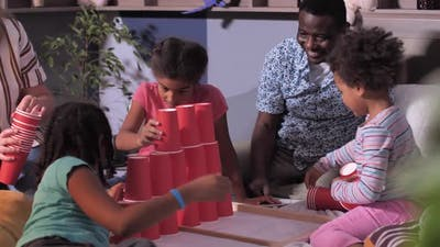Family with Children During Home Gaming Activity