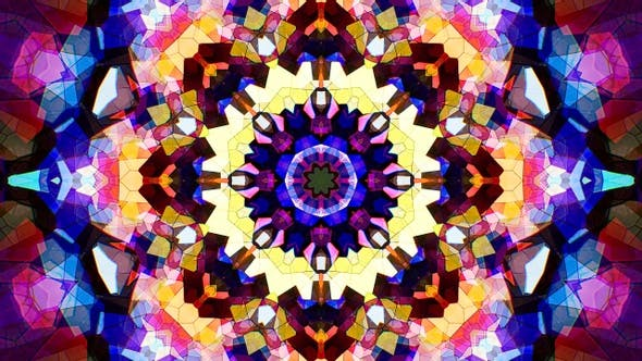 Colorful Stained Glass Kaleidoscope Loop 4K 04