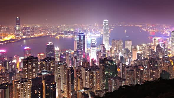 Thumbnail for Time Lapse of the amazing skyline of Hong Kong at night
