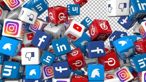 Social Media Icons Transition  - Facebook, Twitter, Youtube, Instagram, Linkedin, Pinterest and Like