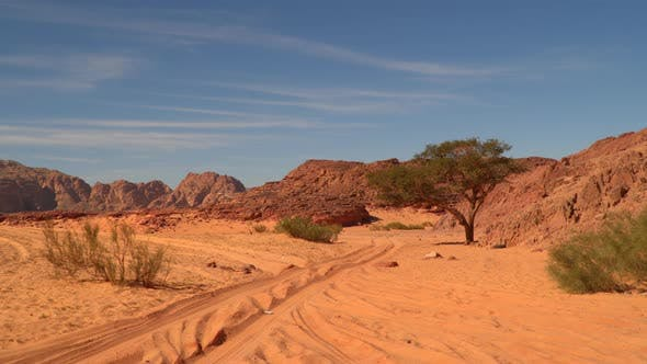 Thumbnail for Road in the Desert Against the Backdrop of Mountains and Blue Sky