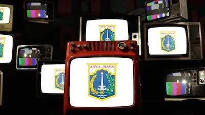 Flag Of Jakarta, Indonesia, and Retro TVs.