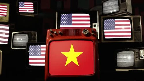 Flag of Vietnam and US Flags on Retro TVs.