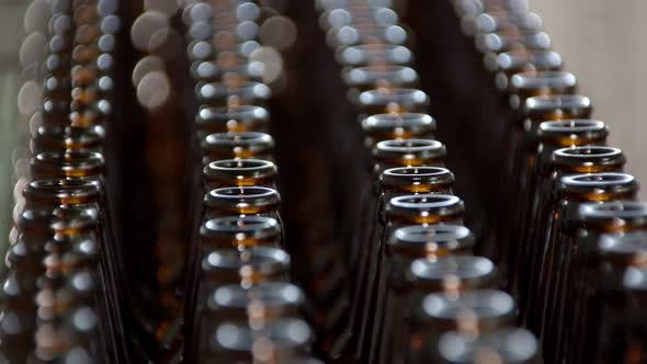 Close-up View of Bottles on Conveyor Belt, Close-up, Modern Brewery, Bottling Workshop