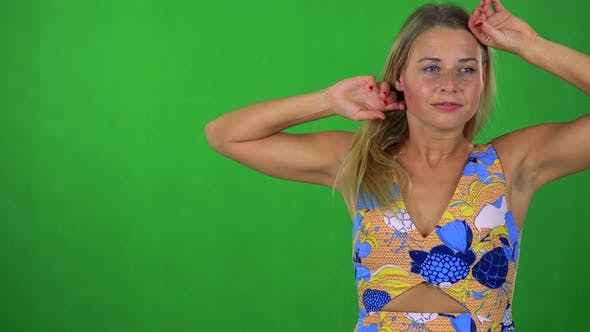 Thumbnail for Young Pretty Blond Woman Wakes Up and He Is Suprised - Green Screen - Studio