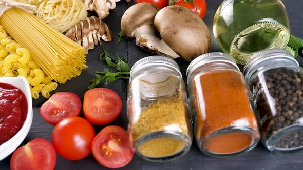 Thumbnail for Healthy Dinner Ingredients on Dark Table