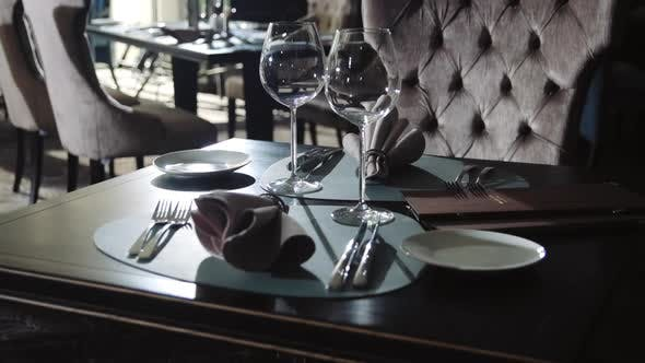 Thumbnail for Wine Glass and Plate for Dinner in Restaurant. Tableware Set on Dining Table