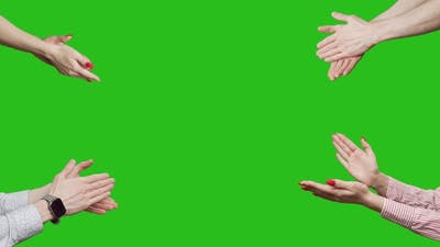 Hands are Clapping at Green Screen Background