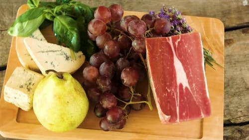 Wooden Board and Raw Food