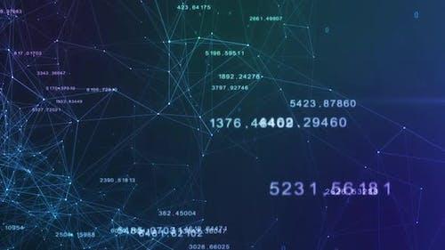 Enchevêtage technologique de nombres et d'éléments, de lignes et de points