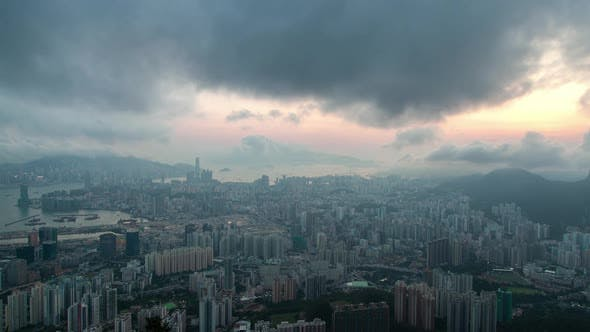 Thumbnail for Cityscape Hong Kong City District Under Grey Dense Clouds