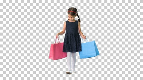 Thumbnail for Beautiful little girl in black dress walking, Alpha Channel