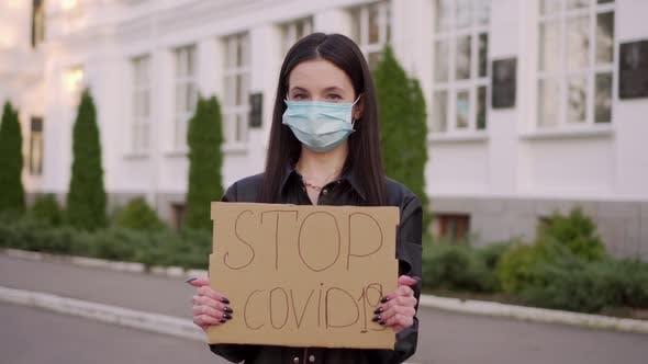 Thumbnail for Young Woman Calls To Stop Coronavirus Covid19.