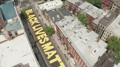 Aerial Drone Shot of Black Lives Matter Mural in Bed-Stuy, Brooklyn, New York