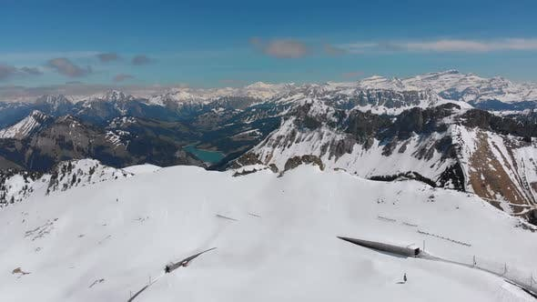 Thumbnail for Aerial Drone View on Snowy Peaks of Swiss Alps. Switzerland. Rochers-de-Naye Mountain Peak