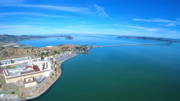 Thumbnail for San Quentin State Prison Correctional Facility Aerial Above View Richmond San Rafael Bridge