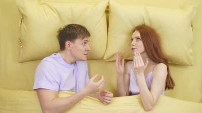 Couple With Problems Having Disagreement In Bed Quarrelling