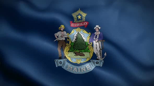 Maine State Flag Blowing In Wind