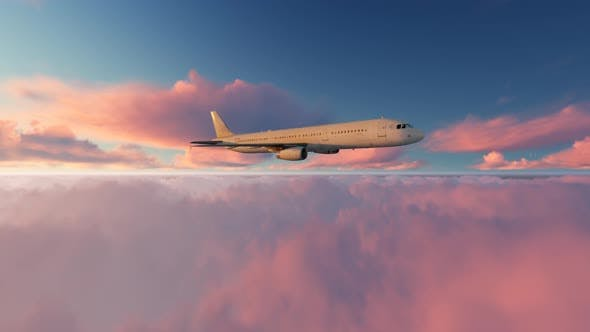 Thumbnail for Airliner Flying Over Clouds