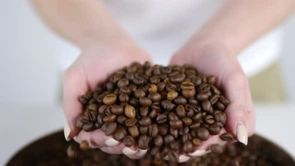 Thumbnail for Unrecognizable Woman Showing Coffee Beans