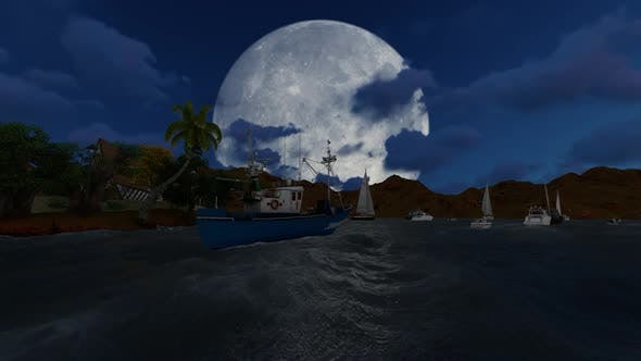 Thumbnail for Panorama of full moon and clouds at night