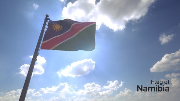 Namibia Flag on a Flagpole V4