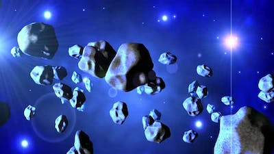 Animation of Asteroids floating in space