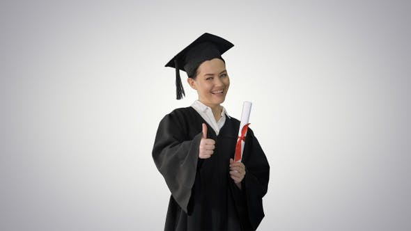 Thumbnail for Happy graduate woman holding diploma and thumb up on gradient