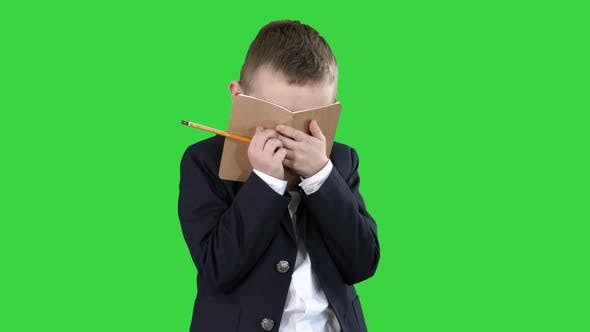 Thumbnail for Emotional Positive Little Boy with Notebook Laughing on a Green Screen, Chroma Key.