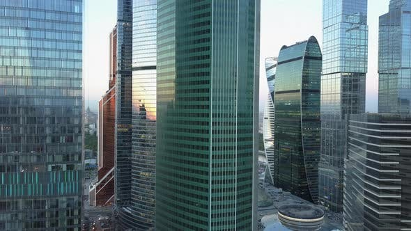 Skyscrapers in City Downtown, Aerial View