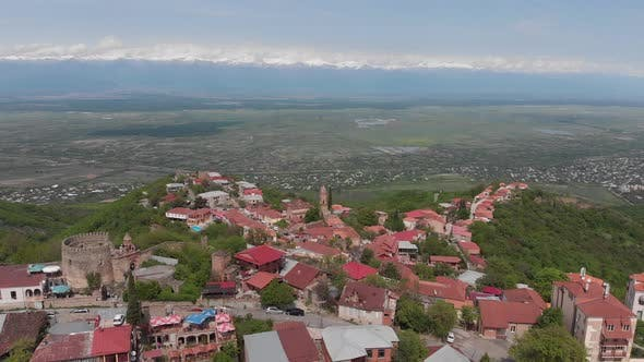 Aerial view of beautiful city of love Sighnaghi. Georgia 2019 spring