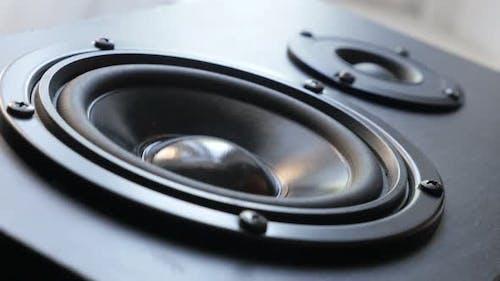 Hi-Fi speaker membrane vibrations 4K 2160p 30fps UltraHD footage - Close-up of  acoustic diaphragm