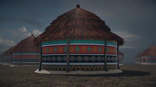 African Round Hut 4k