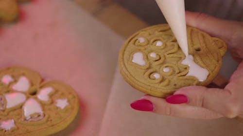 Closeup Making Handmade Cookies Edible Decoration for Xmas Tree, Baking