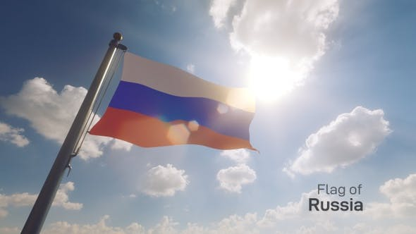 Russia Flag on a Flagpole V2