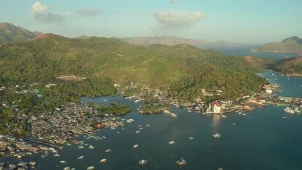 Luftaufnahme von Coron Town