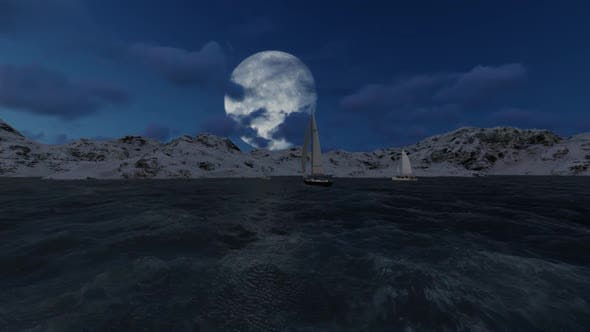 Full moon in the middle of snow mountain