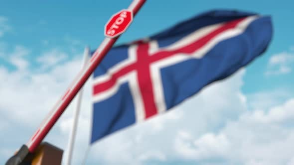 Thumbnail for Closed Boom Gate on the Icelandic Flag Background