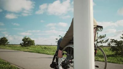 Disabled Man Alone in the Street