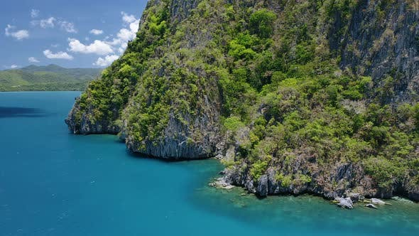Thumbnail for Aerial View of an Impassable Rocky Cliffs Island. El Nido, Palawan, Philippines. Unspoiled Island
