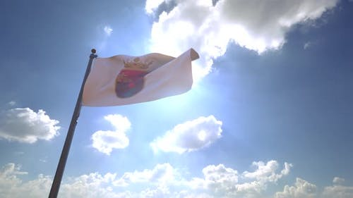 Chiapas Flag on a Flagpole V4 - 4K
