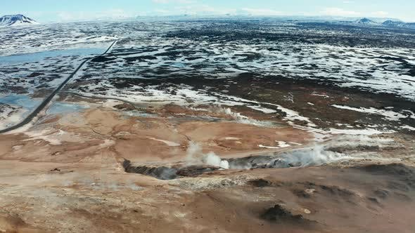 Thumbnail for Namafjall Hverir Geothermal Area in Iceland. Aerial View