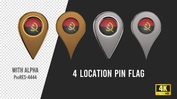 Angola Flag Location Pins Silver And Gold