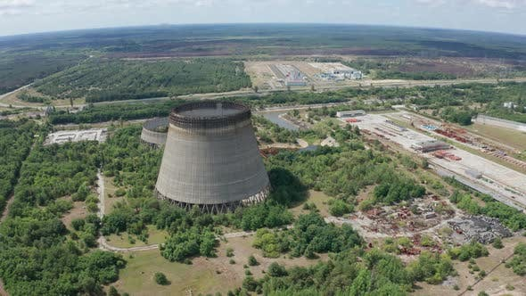 Aerial View of Giant Cooling Towers Near Chernobyl