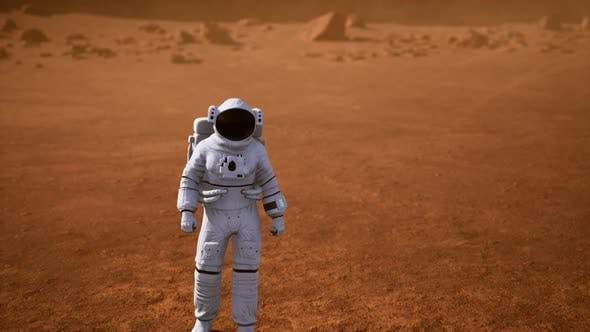 Thumbnail for Astronaut on Mars Surface. Red Planet Covered in Gas and Rock