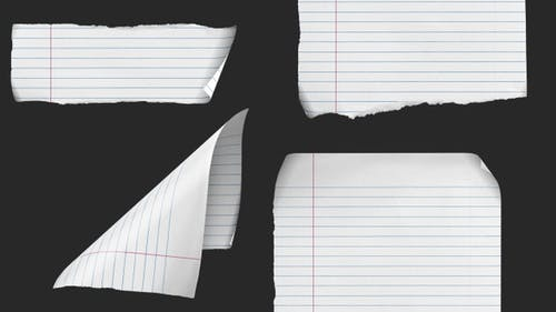 Ruled Notebook paper - 4 clips