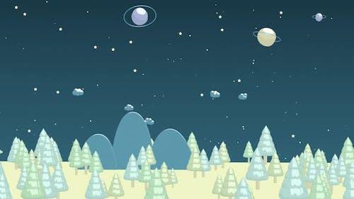 Cartoon-Bäume, Cartoon-Stil Wald, Cartoon-Stil.